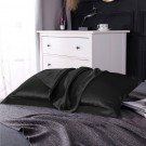1 Pair of Silky Satin Pillowcases Soft Breathable Pillowcase Pillow Cover PILLW IS NOT INCLUDED Black