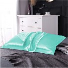 1 Pair of Silky Satin Pillowcases Soft Breathable Pillowcase Pillow Cover PILLW IS NOT INCLUDED Cyan