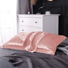 1 Pair of Silky Satin Pillowcases Soft Breathable Pillowcase Pillow Cover PILLW IS NOT INCLUDED Pink