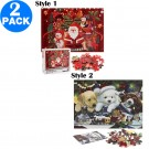 2 Pack 1000PCS Christmas Puzzles Style 1 Style 2