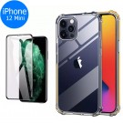 Airbag Phone Case with Glass Screen Protector Phone Back Cover Shock Absorption Phone front and Back Cover for iPhone 12 Mini