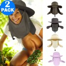 2 X Unisex Fishing Cap Flap Hat Outdoor Sun Protection Hat Wide Brim Flap Cover Hat Breathable Summer Hat