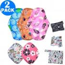 2 Sets of Sanitary Pads Sets Reusable Soft Cloth Menstrual Pads Super-Absorbent Panty Liner Pads Feminine Hygiene Pads Random Colour
