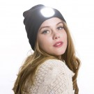 2 X USB Rechargeable Winter Warm Knitted Beanie Hat with LED Light Camping Hat Workwear Hat Black Light Grey