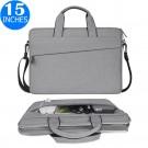 15 Inches Handheld Laptop Bag Portable Lightweight Shoulder Bag Shock Absorption Handbag Light Grey