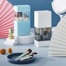 2 X Air-Drying Makeup Brushes Box Makeup Brush Holder Multifunctional Cosmetic Organizer Dustproof 12 Holes Storage Box Blue and White