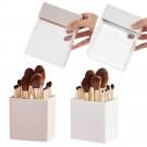 2 X Air-Drying Makeup Brushes Box Makeup Brush Holder Multifunctional Cosmetic Organizer Dustproof 12 Holes Storage Box White and Pink