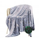 Small Glow in The Dark Throw Blanket Luminous Blanket Soft Blanket Flannel Blanket with Stars and Moon Patterns