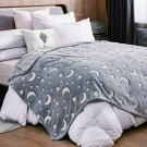 Large Glow in The Dark Throw Blanket Luminous Blanket Soft Blanket Flannel Blanket with Stars and Moon Patterns