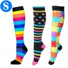 3 Pairs of Colourful Small Size Style 1 2 3 Womens Knee Length Compression Socks