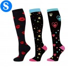3 Pairs of Black Small Size Style 4 5 6 Womens Knee Length Compression Socks