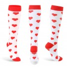 3 Pairs of Large Size Heart Pattern Womens Knee Length Compression Socks