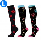 3 Pairs of Black Large Size Style 4 5 6 Womens Knee Length Compression Socks