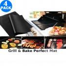4x Non-stick BBQ Grill & Bake Perfect Mats