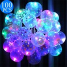 100 X LED Luminous Transparent Balloons For Christmas Birthday Outdoor Decoration