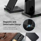 3 in 1 Qi Wireless Charger with Magnetic Stand for iPhone Apple Watch AirPods