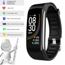 C6T Smart Watch Sports Bracelet Body Temperature Heart Rate Blood Oxygen Blood Pressure Monitor Black