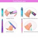 2 Pack 15PCS Rainbow Manicure Pedicure Nail Grooming Kits