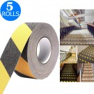 5 Rolls 5CMx5M Black and Yellow Grit Surface Anti Slip Grip Tape Hazard Caution Warning Tape for Outdoor Floor Home Stair Steps