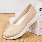 Women Flat Shoes Lightweight Breathable Round Toe Sneakers Walking Shoes Apricot