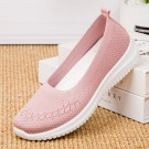 Women Flat Shoes Lightweight Breathable Round Toe Sneakers Walking Shoes Pink