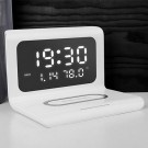 Electric Wireless Charger Digital Thermometer Calendar Alarm Clock for i Pnone Samsung Huawei