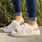 Womens Fluffy Open Toe House Slide Slipper Sandal Spa Bedroom Shoes Beige