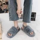Womens Fluffy Open Toe House Slide Slipper Sandal Spa Bedroom Shoes Grey