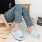 Womens Fluffy Open Toe House Slide Slipper Sandal Spa Bedroom Shoes Light Blue
