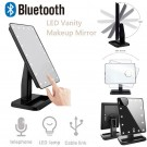 20 LEDs Rechargeable Vanity Makeup Mirror with Makeup Lights and Bluetooth Audio Speaker and 10X Magnification Mirror