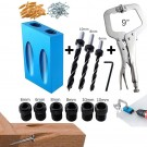 15 Degree Angle Hole Locator Self Centering Dowelling Jig Woodworking Puncher Set Tools with 6 MM 8MM 10MM Drill Bits and Clamp