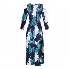 Womens Summer Full Floral Printed Long Sleeve Cold Shoulder Maxi Dress with Pocket Blue