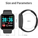 2 X Y68 Waterproof Smart Watch Sports Fitness Trackaer with Heart Rate Monitor for Men and Women Black and Pink