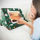 Christmas Printed Multi Angle Soft Pillow Mobile Phone Holder for iPad Tablet Stand with Mesh Bag and Handle