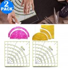 2 X Arcs and Fans Circle Cutter Ruler Patchwork Sewing Craft Tools Quilting Ruler for DIY Sewing Crafts
