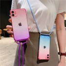 Gradient TPU Phone Case for iPhone with Adjustable Phone Lanyard Nylon Strap