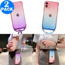 2 X Gradient TPU Phone Case for iPhone with Adjustable Phone Lanyard Nylon Strap