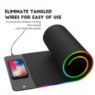 3 In 1 Mobile Phone Fast Charging Wireless Charger Ultra Thin Gaming Mouse Pad with LED Light Black