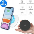 2 Pack 15W Wireless Charger Ultra Thin Mobile Phone Fast Charging Pad Suitable for iPhone 12