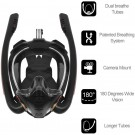 K3 Summer Snorkeling Mask Diving Mask Snorkel Mask with Dual Free Breathing System for Adults Black