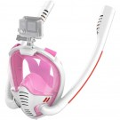 K3 Summer Snorkeling Mask Diving Mask Snorkel Mask with Dual Free Breathing System for Adults White and Pink