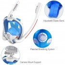 K3 Summer Snorkeling Mask Diving Mask Snorkel Mask with Dual Free Breathing System for Adults White and Blue