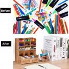 12 Compartments Wooden Desk Organizer DIY Pen Holder Box Storage Rack with Drawer