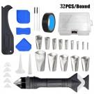 32Pcs 6 In 1 Silicone Caulking Tools Kit Caulk Nozzle Set Applicator Finisher Tools Sealant Finishing Tool Dual Heads Scraper