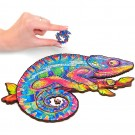 124PCS Animal Series Chameleon Pattern Wooden 3D Jigsaw Puzzle Unique Shape Jigsaw Pieces Game Toys