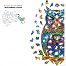 140PCS Animal Series Blue Owl Pattern Wooden 3D Jigsaw Puzzle Unique Shape Jigsaw Pieces Game Toys