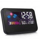 Digital Weather Station Alarm Clock with Indoor Thermometer Hygrometer Monitor Voice Control Backlight Display for Home Office