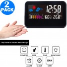 2 X Digital Weather Station Alarm Clock with Indoor Thermometer Hygrometer Monitor Voice Control Backlight Display for Home Office