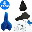 4 X Honeycomb Design Gel Bike Seat Covers Gel Seat Cushions Bicycle Seat Bike Saddle Cushions Gel Sitters with Dust Resistant Covers