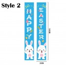 2 Pairs of Happy Easter Banner Easter Porch Sign Door Decoration Easter Decoration Style 1 Style 2